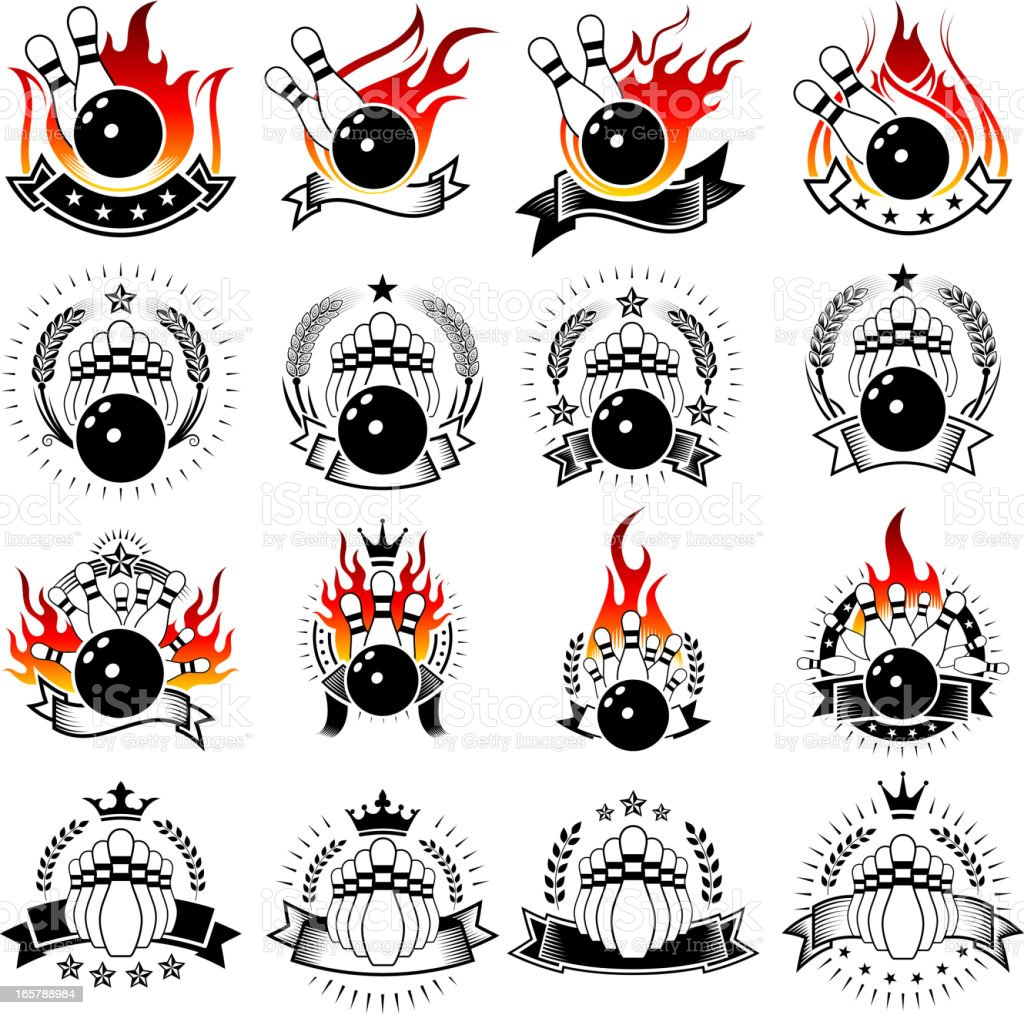 Flaming Bowling and Pins on Badges Set vector art illustration