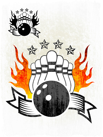 Flaming Bowling Ball and Pins on Grunge badges with banners