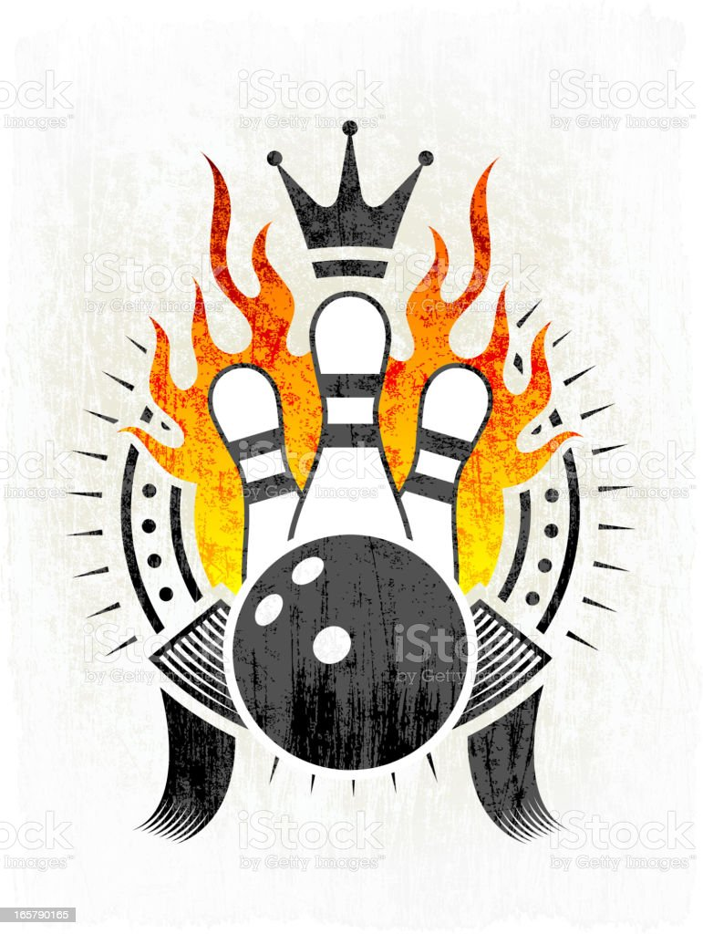 Flaming Bowling Ball and Pins on Grunge badges with banners royalty-free flaming bowling ball and pins on grunge badges with banners stock vector art & more images of badge