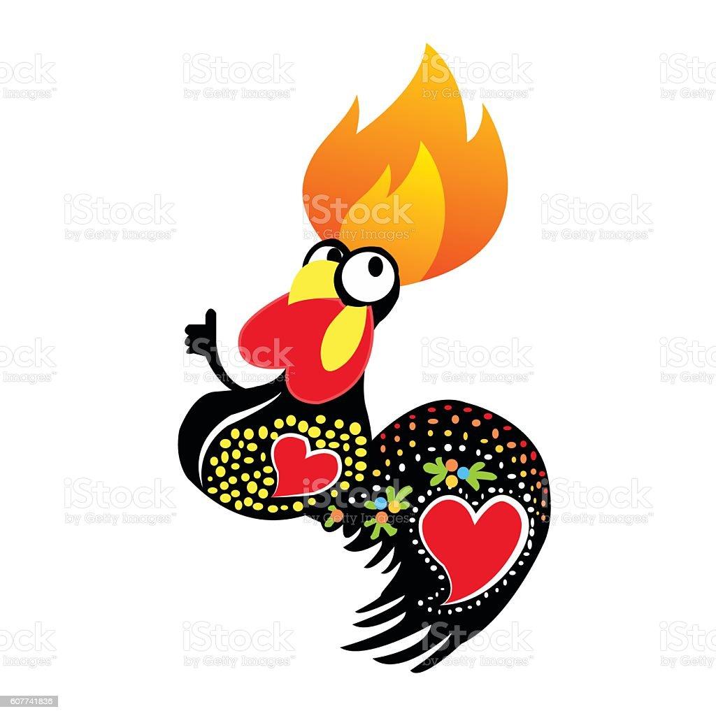 flaming chicken vector art illustration