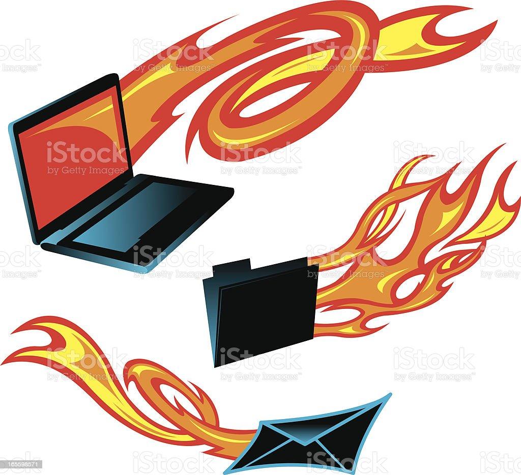 Flaming computadora, archivo y letra de fuego ilustración de flaming computadora archivo y letra de fuego y más banco de imágenes de archivo libre de derechos