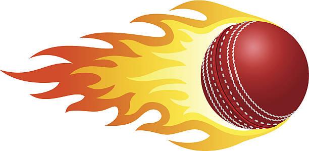 Flaming cricket ball – Vektorgrafik