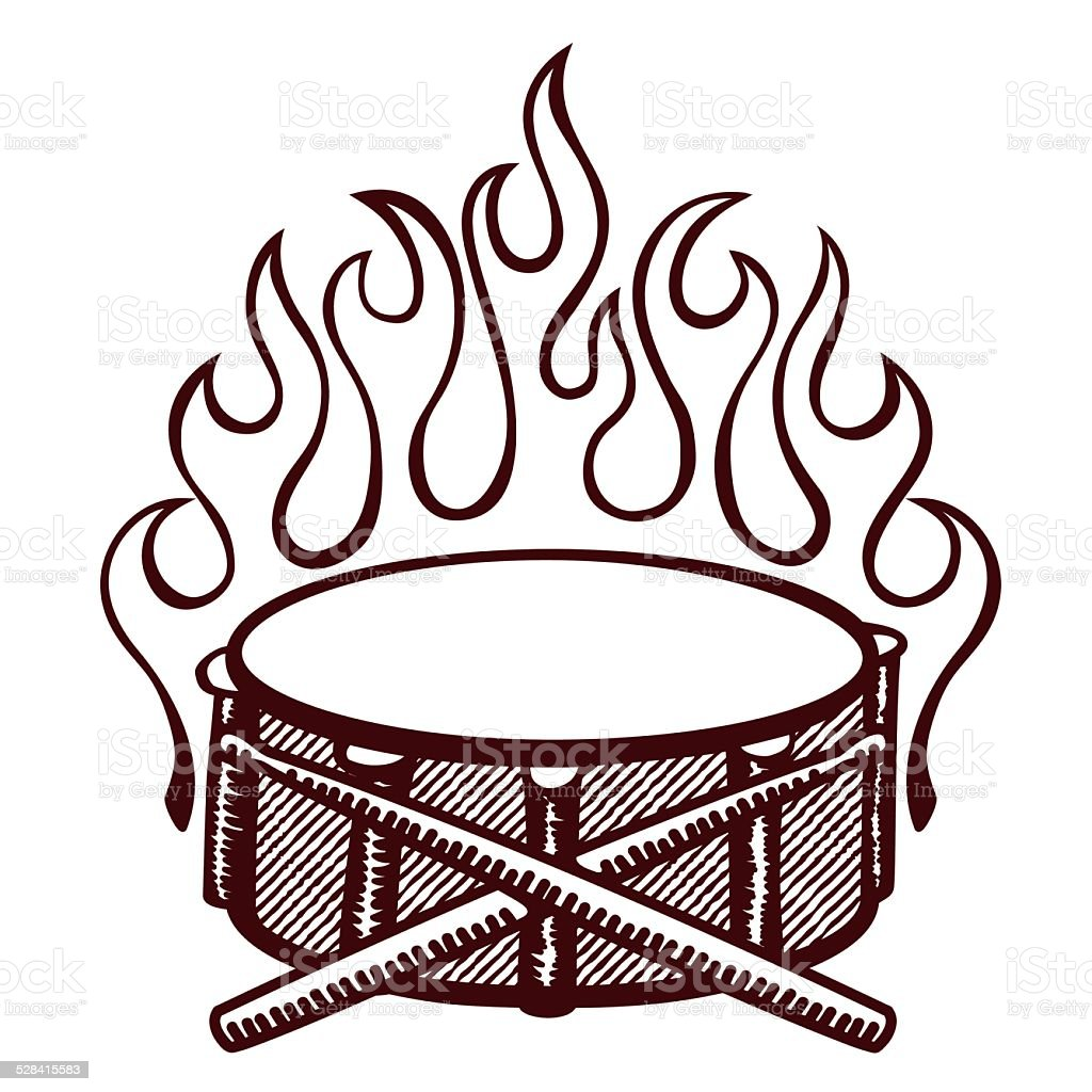 Flaming Drums Snare Drum With Sticks Logo Rockabilly Flames Stock ...