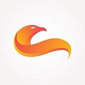isolated modern Flaming eagle, stylized eagle bird logo