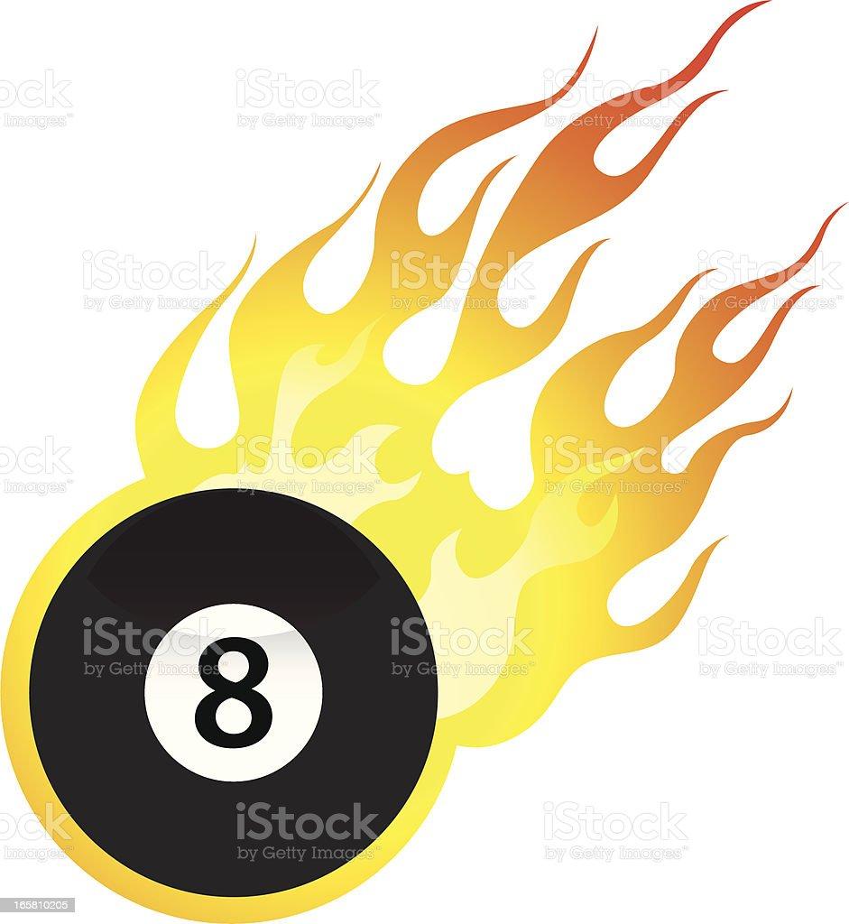 Flaming Eight Ball vector art illustration