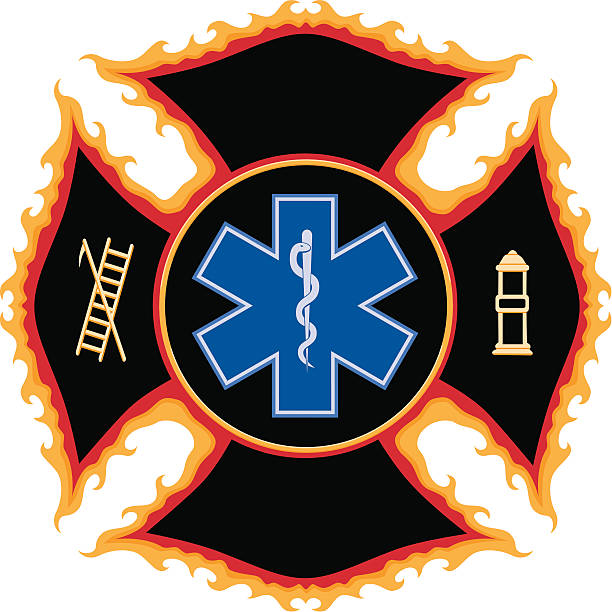 Flaming Fire and Rescue Maltese Cross Symbol Flaming Fire and Rescue Maltese Cross Symbol. maltese cross stock illustrations