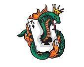 Flaming Gambling King Cobra Illustration