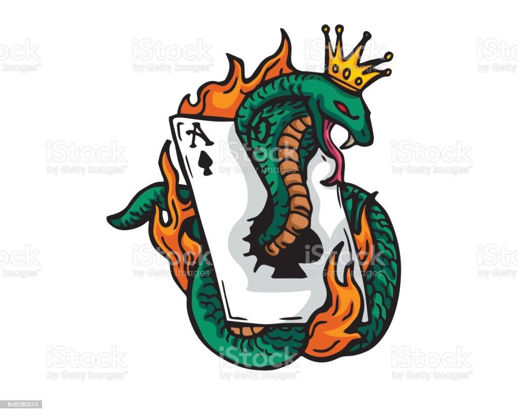Flaming Gambling King Cobra Illustration vector art illustration