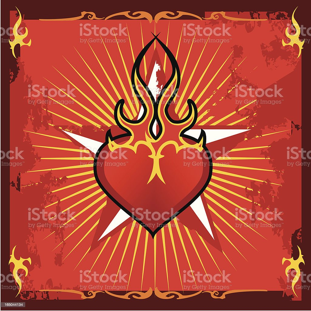 flaming heart and star sign