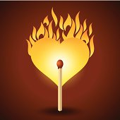 vector illustration of flaming heart at fire