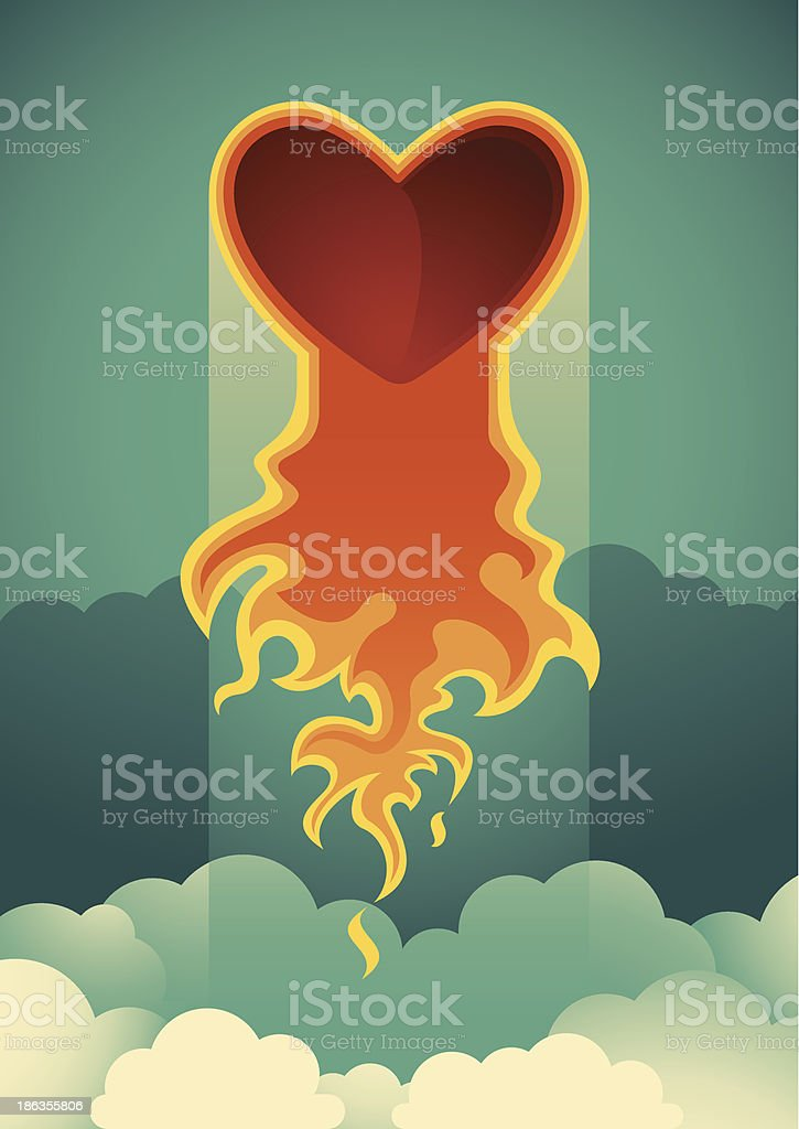 Flaming heart illustration. royalty-free flaming heart illustration stock vector art & more images of art