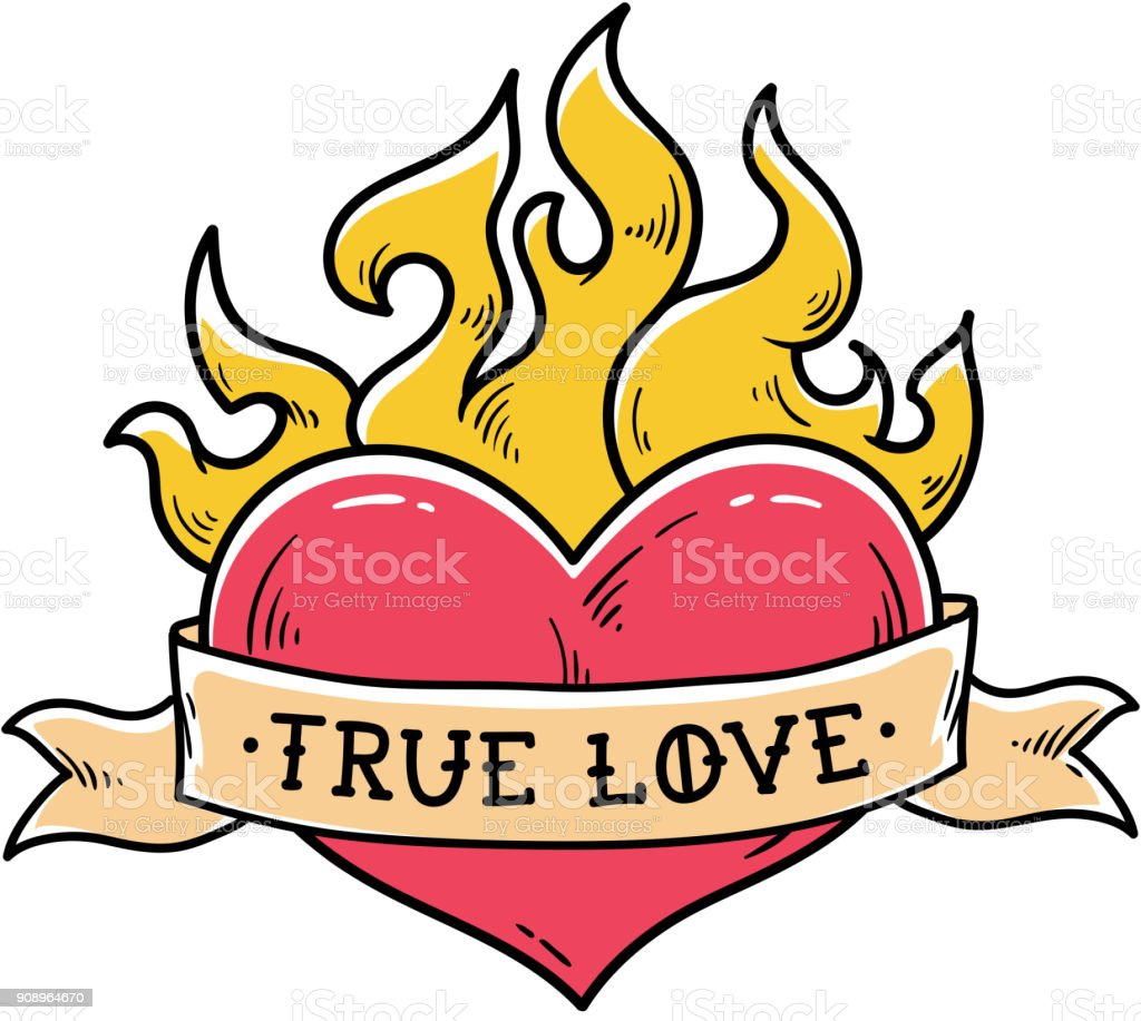 Flaming Heart Tattoo with ribbon. True love. vector art illustration