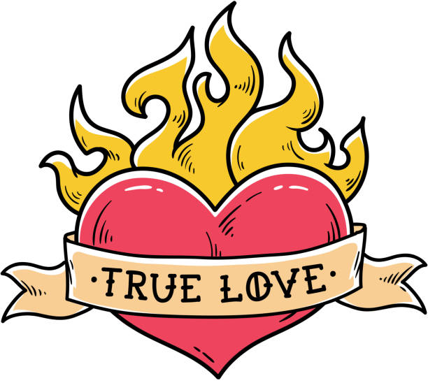 illustrations, cliparts, dessins animés et icônes de tatouage de coeur enflammé avec ruban. amour sincère. - tatouages cœurs