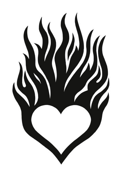 「flaming 中心 - 炎のタトゥー点のイラスト素材/クリップアート素材/マンガ素材/アイコン素材