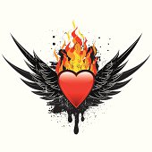 A glossy heart over a large flame between a set of wings over a grunge background. The artwork is on separately labeled layers. The grunge effects are easily removed.
