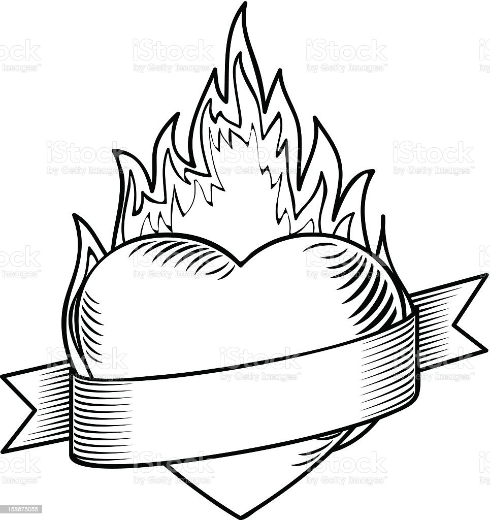 Flaming Heart With Rib...