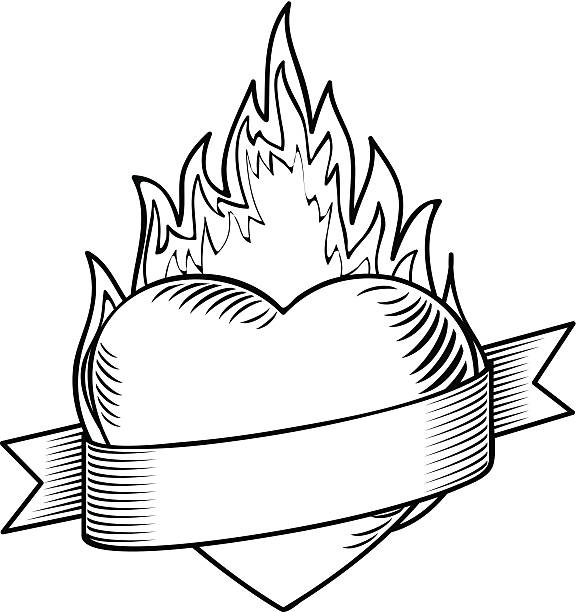 Flaming tatouage coeur avec ruban Vector - Illustration vectorielle