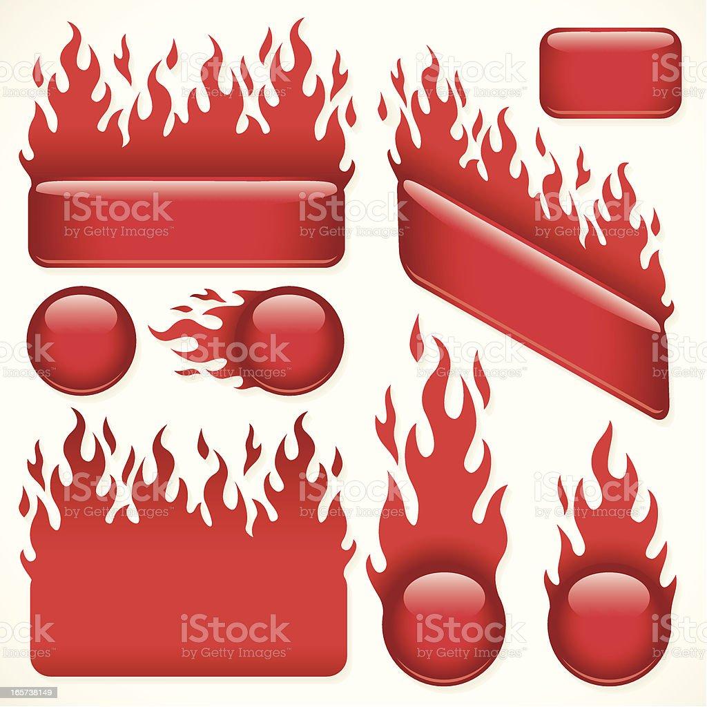 Flaming Hot Banners vector art illustration