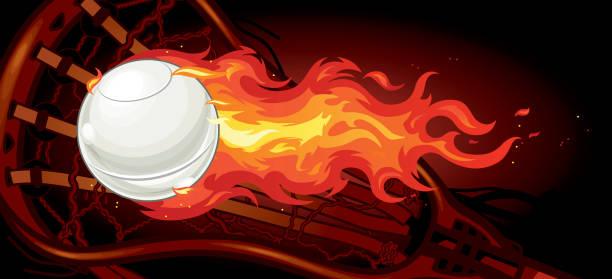 Flaming Lacrosse vector art illustration