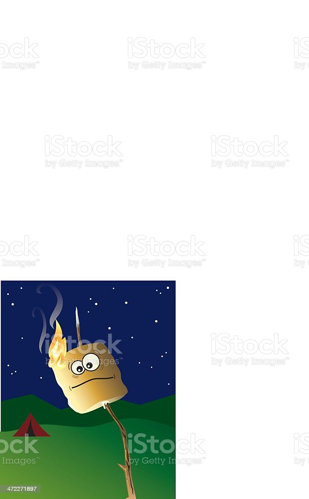 Flaming Marshmallow royalty-free stock vector art