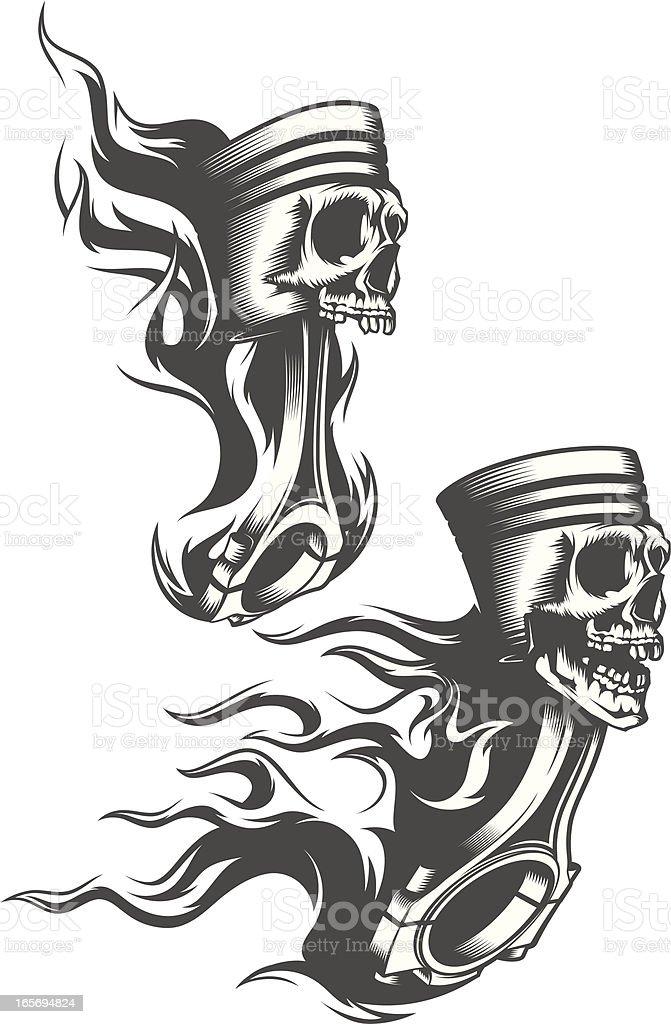 flaming pistons vector art illustration