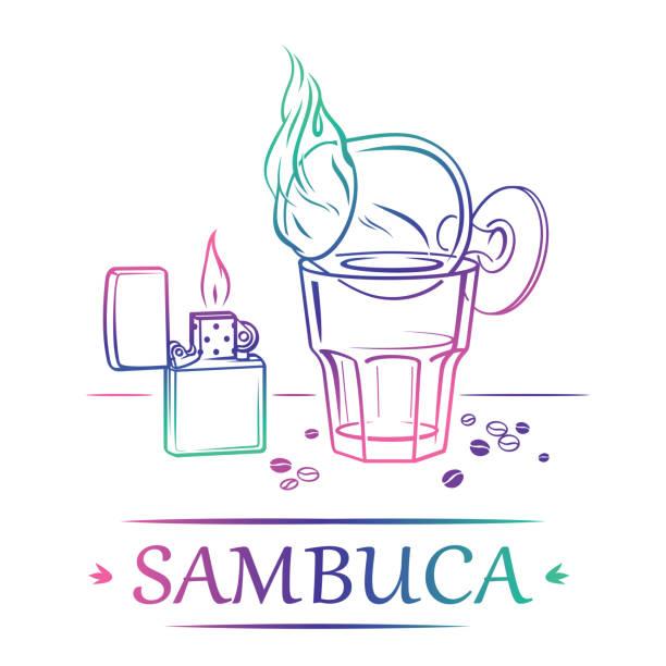 Flaming Sambuca mit Zigarettenanzünder und Kaffeebohnen – Vektorgrafik