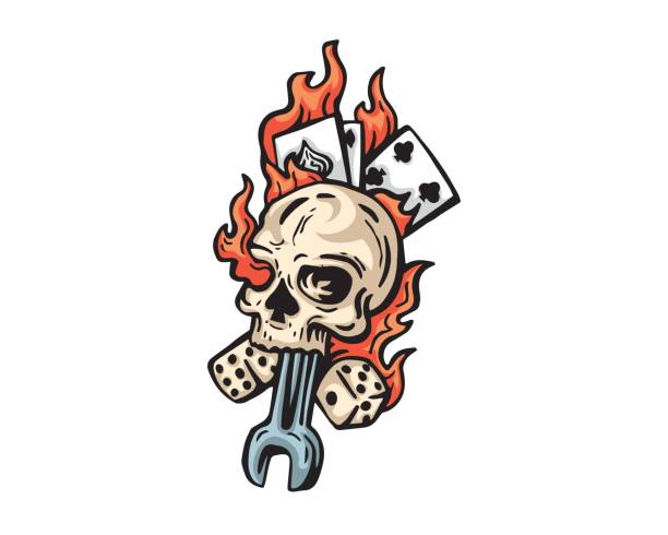 flaming skeleton spade head and card illustration - fire tattoos stock illustrations, clip art, cartoons, & icons