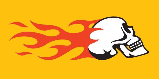 illustrations, cliparts, dessins animés et icônes de flaming skull rétro hot rod, moto design - tatouages feu