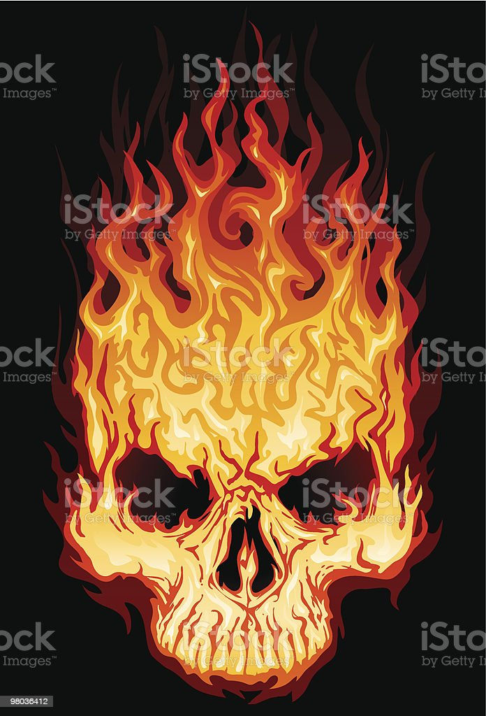 Flaming Skull Top royalty-free flaming skull top stock vector art & more images of black color