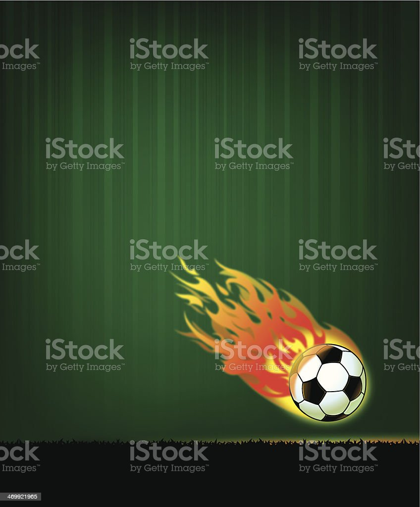 Flaming Soccer Ball Sports Background royalty-free stock vector art