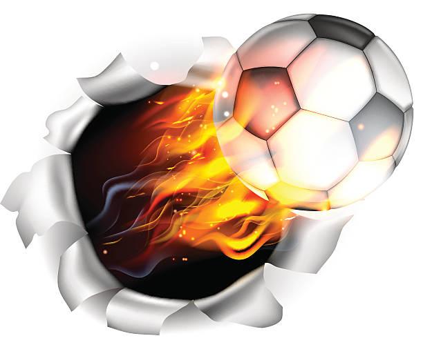bildbanksillustrationer, clip art samt tecknat material och ikoner med flaming soccer football ball tearing a hole in the background - fotboll eld
