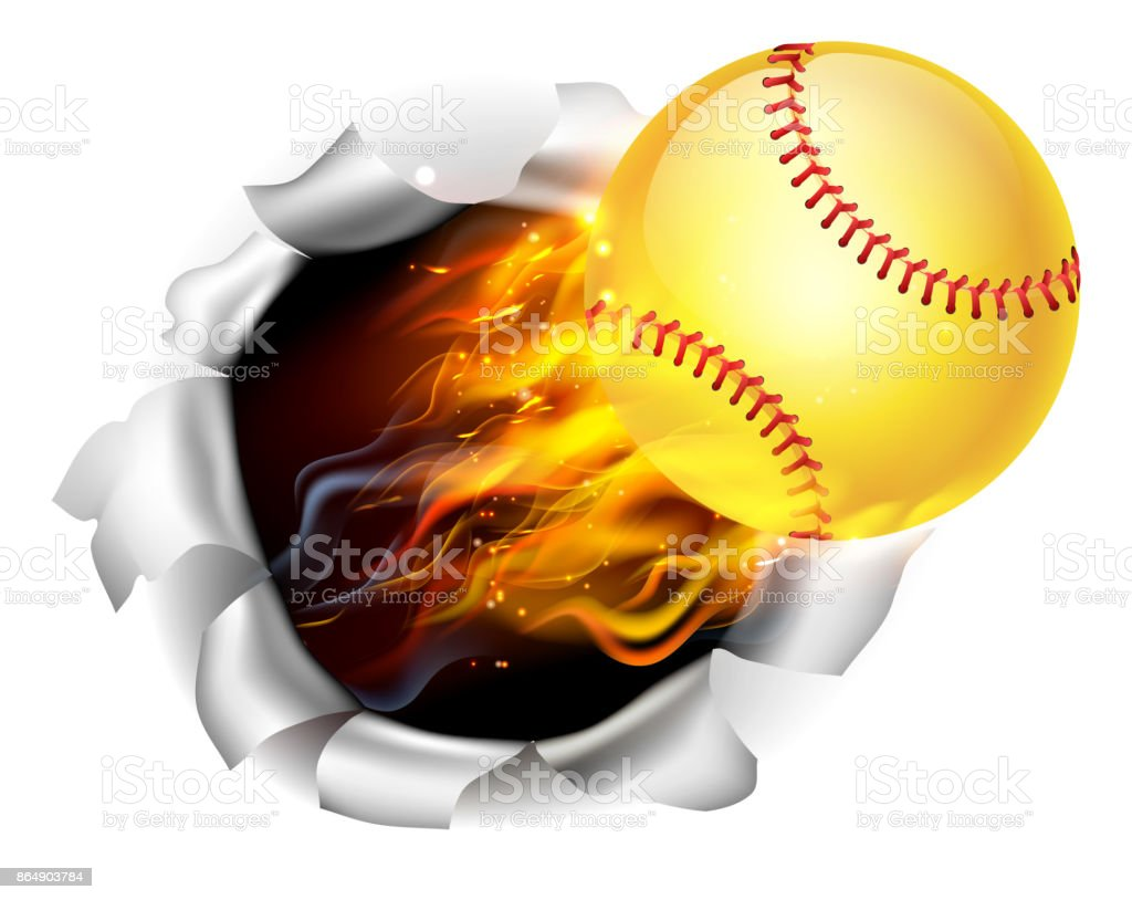 Flaming Softball Ball Tearing a Hole in the Background vector art illustration