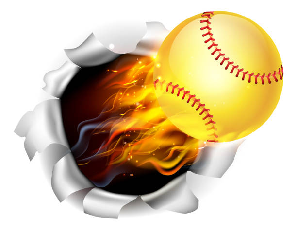 flaming softball ball tearing a hole in the background - softball stock illustrations, clip art, cartoons, & icons