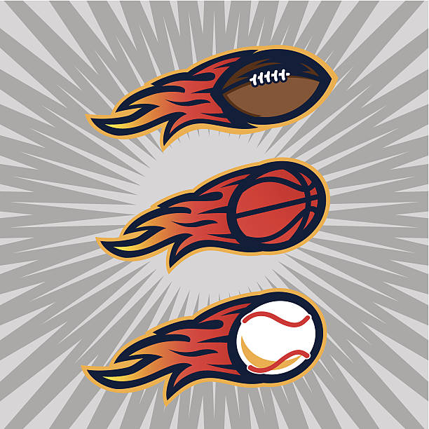 Flaming Sports Balls vector art illustration