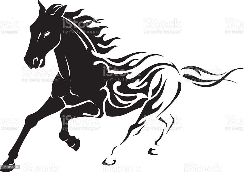 Flaming Stallion vector art illustration