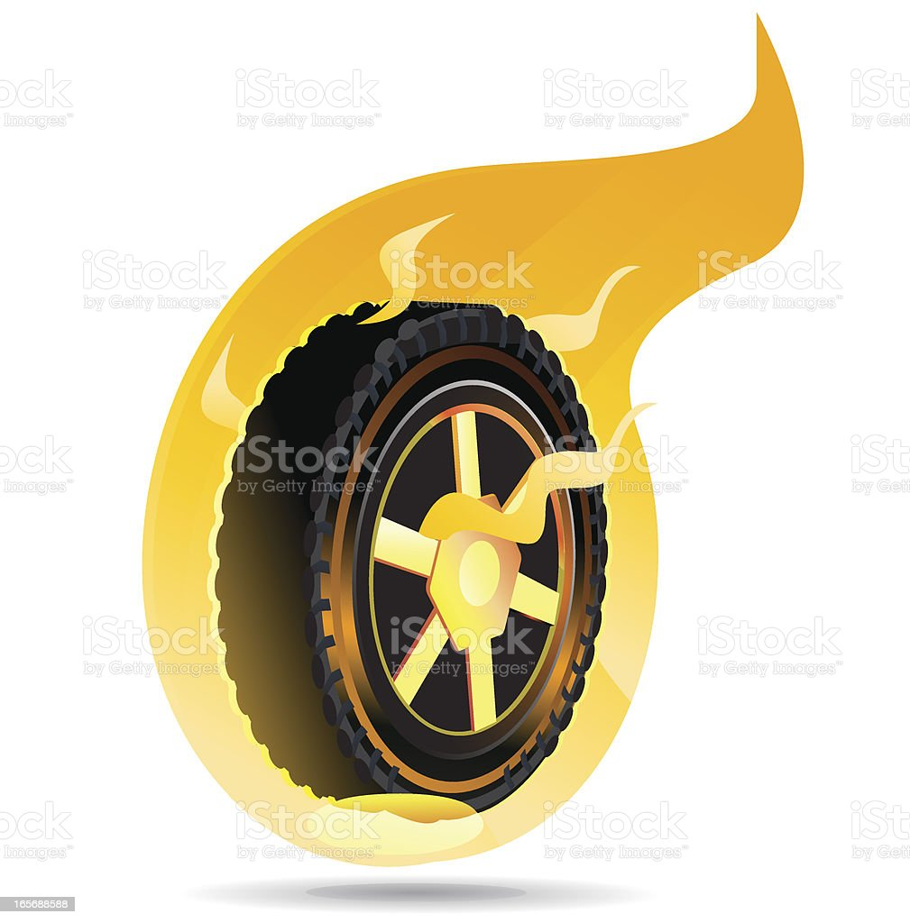 Flaming Tire vector art illustration