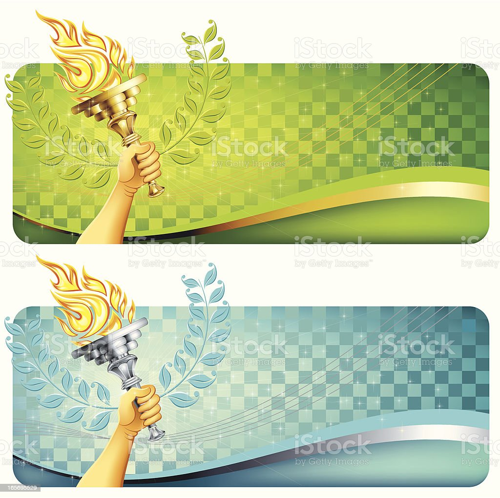 Flaming torch with banner royalty-free stock vector art