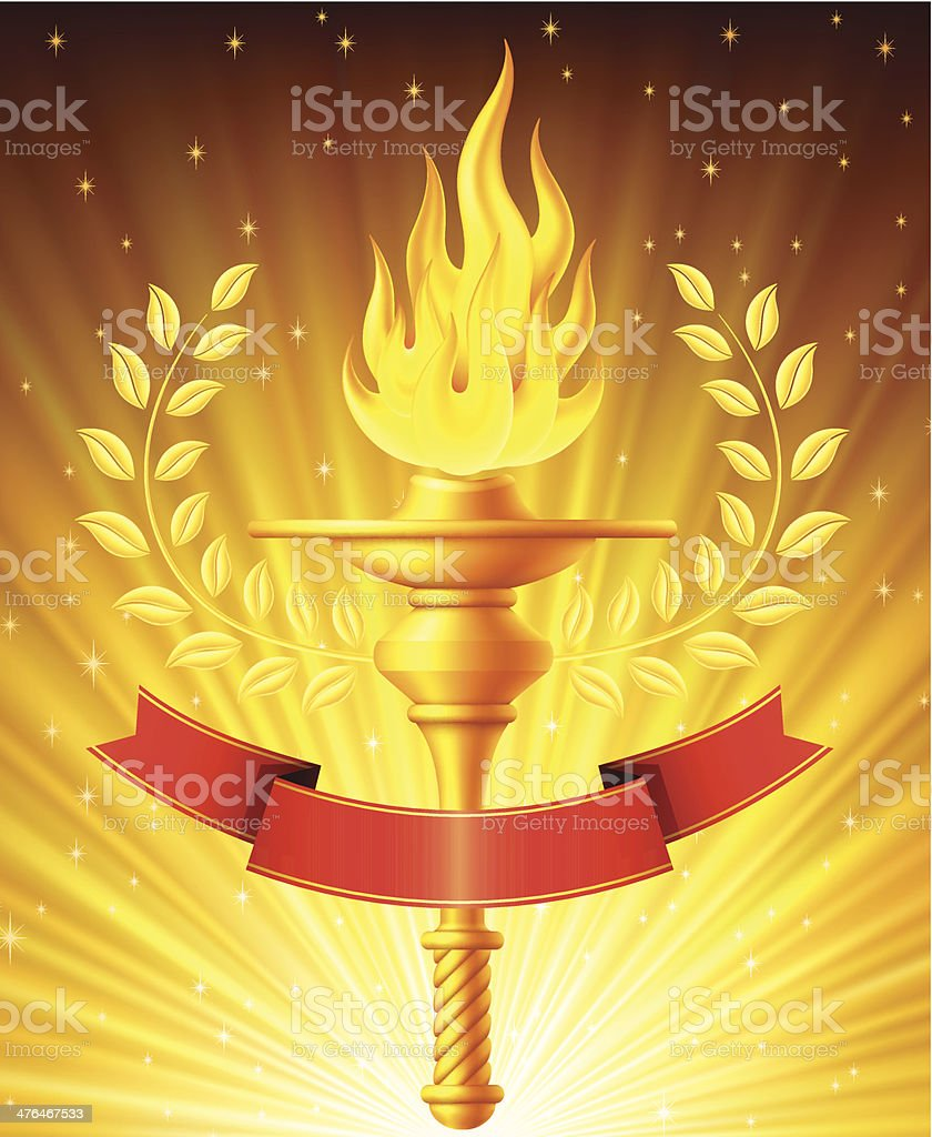 Flaming Torch with Light Background royalty-free stock vector art