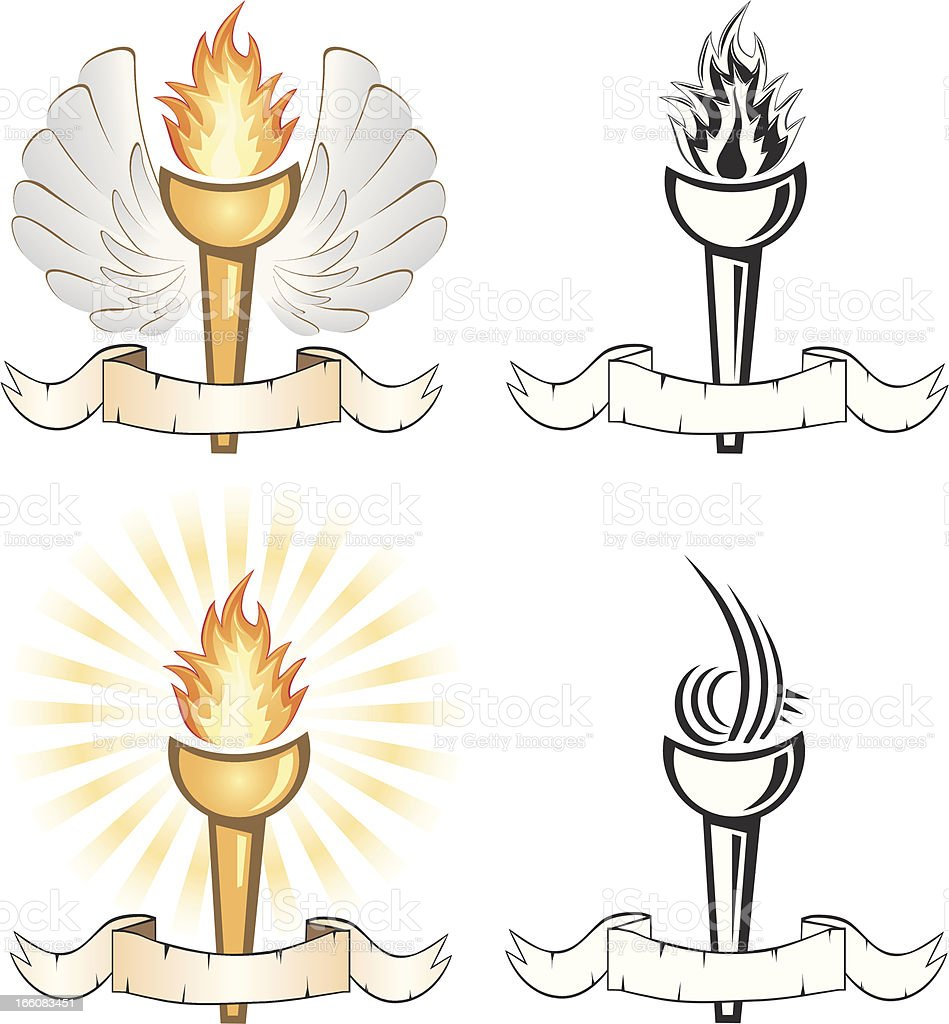Flaming Torches royalty-free stock vector art
