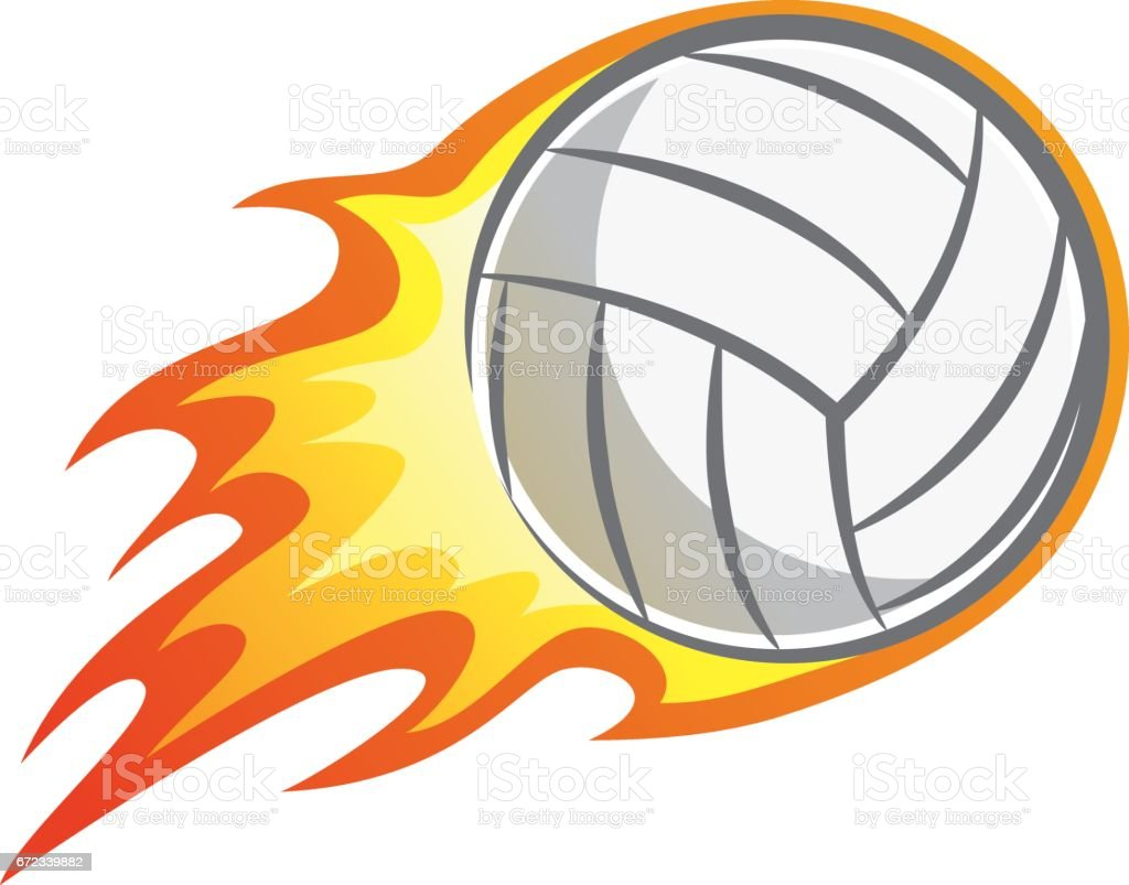 royalty free flaming volleyball cartoon clip art vector images rh istockphoto com Printable Volleyball Graphics Volleyball with Flames