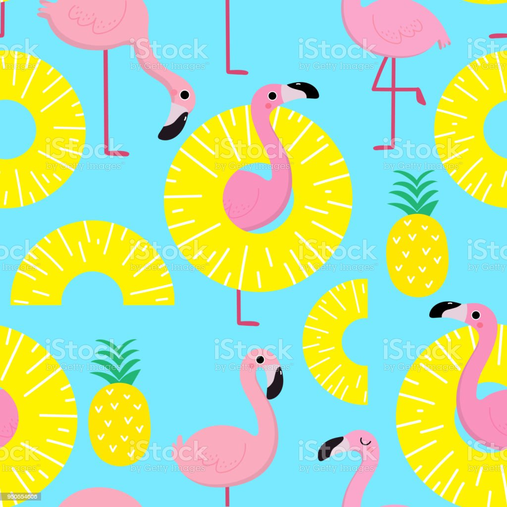 Flamingo And Pineapple Seamless Pattern Stock Vector Art & More ...