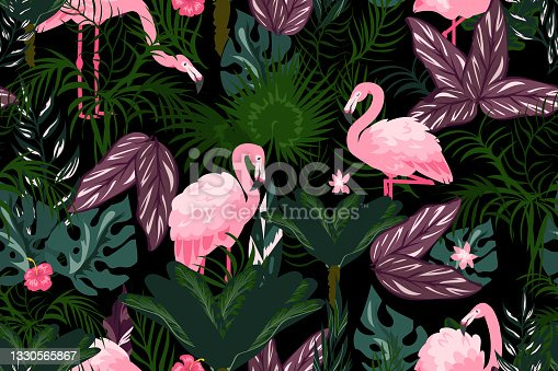 istock Flamingo background. Cartoon wallpaper with exotic pink birds and tropical palm leaves. Jungle foliage seamless pattern. Summer flora and fauna. Vector rainforest plants textile mockup 1330565867