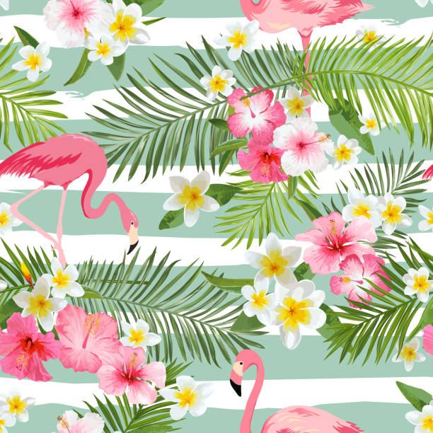 ilustraciones, imágenes clip art, dibujos animados e iconos de stock de flamingo fondo. fondo de flores tropicales. vintage patrón continuo - fiesta en el jardín