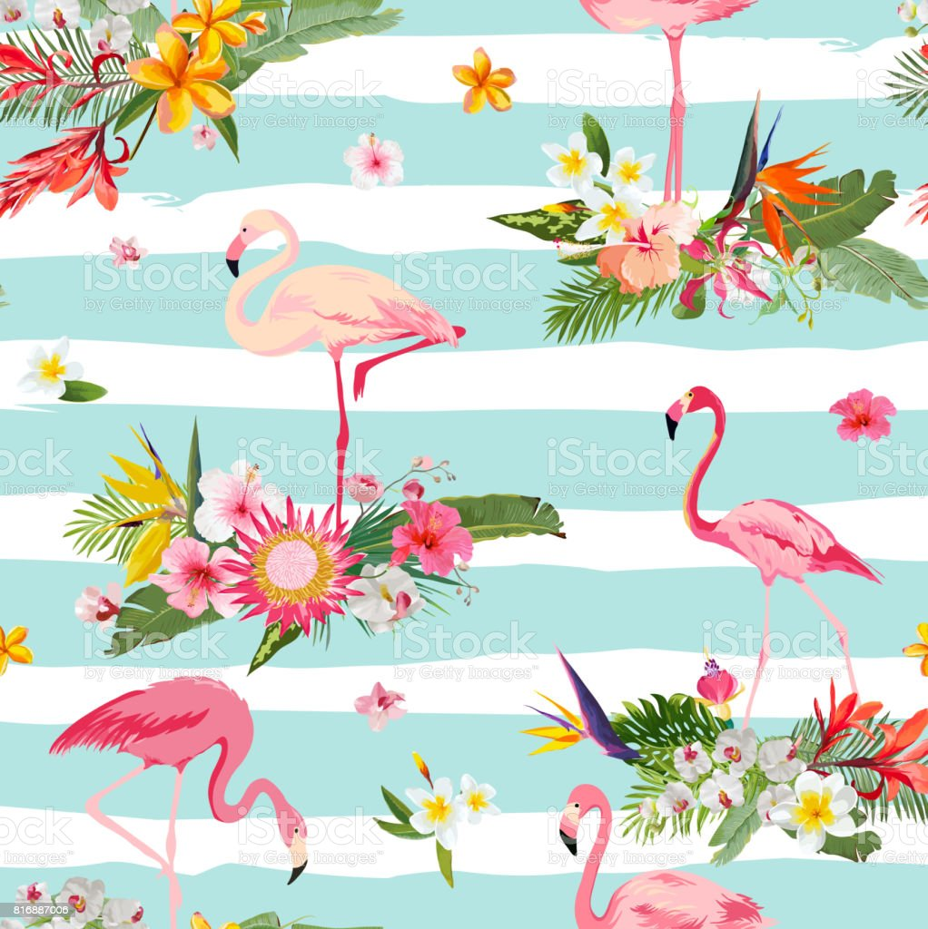 Vintage Style Tropical Bird And Flowers Background: Flamingo Bird And Tropical Flowers Background Retro