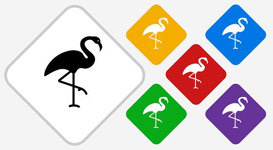 Flamingo Color Diamond Vector Icon