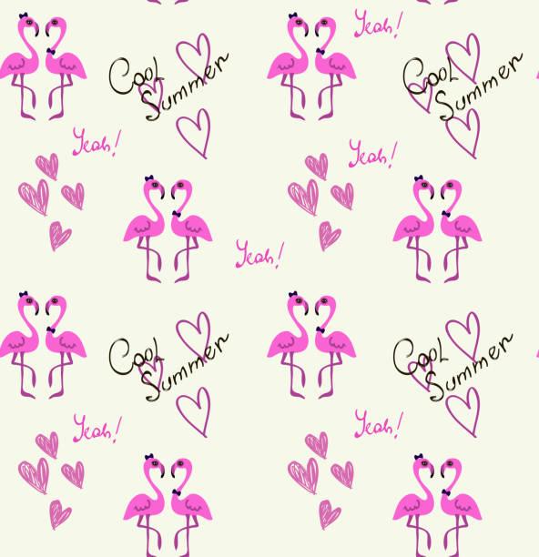 ilustrações de stock, clip art, desenhos animados e ícones de flamingo couple pattern on white background - bills couple