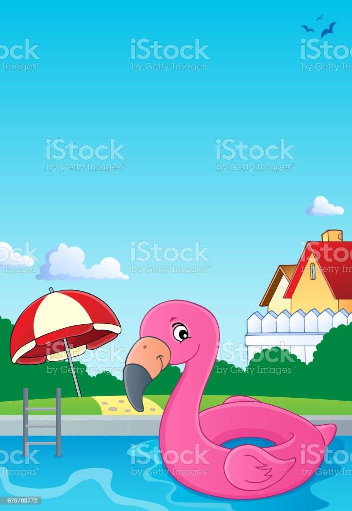 Flamingo Schwimmer Thema Bild 2 - Lizenzfrei Auf dem Wasser treiben Vektorgrafik