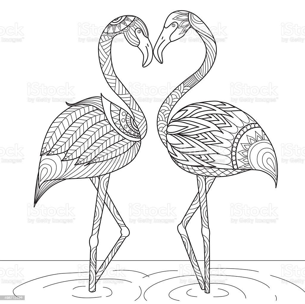 flamingo f r malbuch stock vektor art und mehr bilder von 2015 498712496 istock. Black Bedroom Furniture Sets. Home Design Ideas