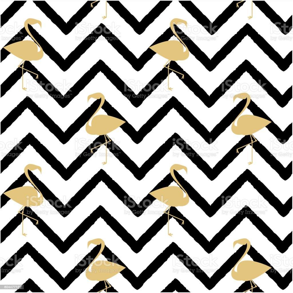 flamingo gold silhouette on abstract black chevron pattern seamless rh istockphoto com chevron pattern vector free download chevron pattern vector eps free