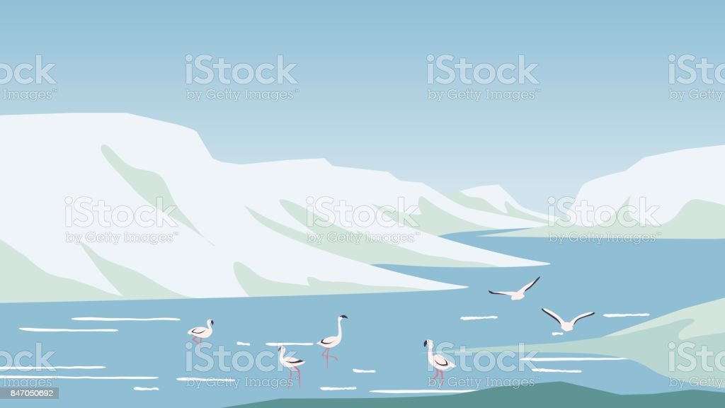 Flamingo hunting and relaxing in the lake located between mountains vector art illustration